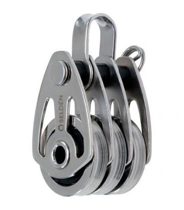 Poulie triple cable 25mm inox à billes